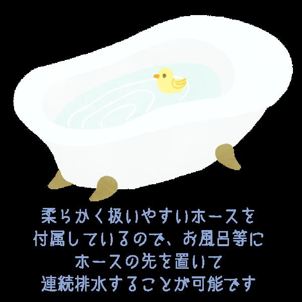 柔らかく扱いやすいホース付属なのでお風呂などにホースの先を置いて連続排水が可能なNEOLEAD コンプレッサー式除湿器です